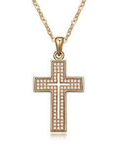 Cross Necklace 18K Yellow / Rose Gold Plated with CZ Gemstones, Christmas Gifts for Women / Girls, Best Holy Religious Christian Pendant Fashion Jewelry Presents - by Elegant Value (Yellow Gold)