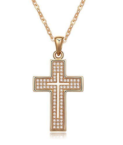 Cross Necklace 18K Yellow / Rose Gold Plated with CZ Gemstones, Christmas Gifts for Women / Girls, Best Holy Religious Christian Pendant Fashion Jewelry Presents - by Elegant Value (Yellow ()
