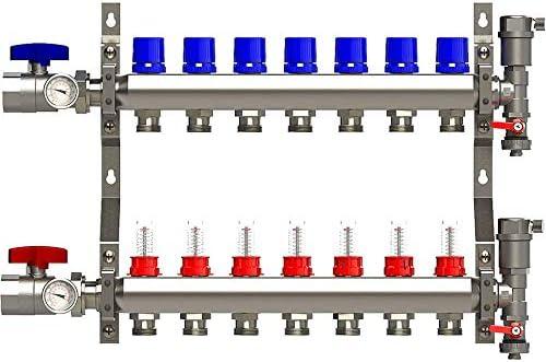 7 Loop Stainless Steel Manifold for Radiant Floor Heating with Brackets Flow Meters and Temp Gauge