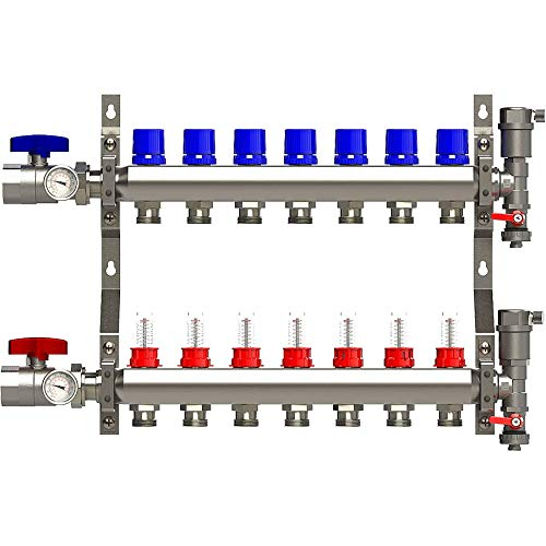 7 Loop Manifold Stainless Steel Pex 0-2 GPM Radiant Heating, with 1/2