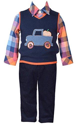 Bonnie Jean 3 Piece Sweater Vest with Truck Applique Shirt and Pants Set 12 Months,Multi