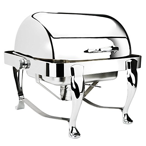 Eastern Tabletop 3117 Roll Top Chafer - 4 Quart, Square, Stainless Steel Chafing Dish - Attractive Design, Perfect for Weddings, Parties, and Buffets