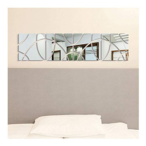 Room Decor Pattern - Multi-pieces=4 Squares Geometric Art DIY Combination Pattern Mirror Effect Wall Sticker for Living Room Wall Decor 3D Mirrored Stickers Mural Removable Home Decoration,30x120cm
