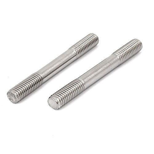 Double Stud End - YXQ M8x60mm Push Rod Double End Thread Stud Tight Adjustable 304 Stainless Steel Silver Tone (12Pcs)