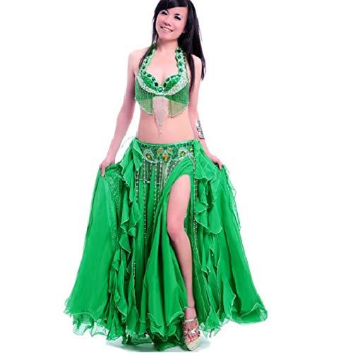 Danse Du ceinture s Tenues Green Des 3 Face Strass Polyester Soutien Avec Ventre gorge jupe Divisé Femmes De Performance Pièces Wqwlf qSfwxEOq