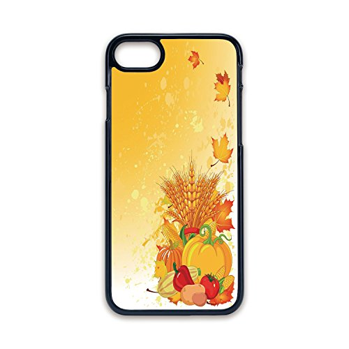 - Phone Case Compatible with iPhone7 iPhone8 Black edge Fashion personality,Harvest,Vivid Festive Collection of Vegetables Plump Pumpkins Wheat Fall Leaves Decorative,Earth Yellow Green Red,Hard Plastic