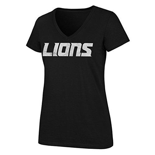 OTS NFL Detroit Lions Women's Rival V-Neck Tee, Large, Jet Black - Detroit Black T-shirt