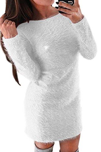 Zamtapary Women Winter Casual Faux Mohair Fuzzy Slim Solid Pullover Mini Dress White M -