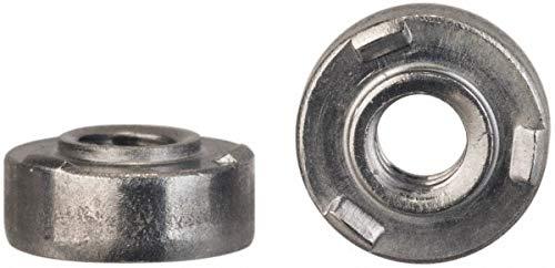 #6-32, 0.34'' Body Diam, Round Head, Steel Weld Nut pack of 10