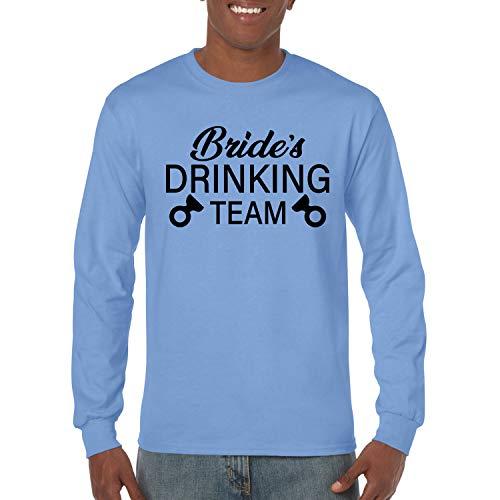 Donkey Threads Bride's Drinking Team Drinking Mens Long Sleeve Graphic T-Shirt, Light Blue, Small (Drinking T-shirt Team Light)