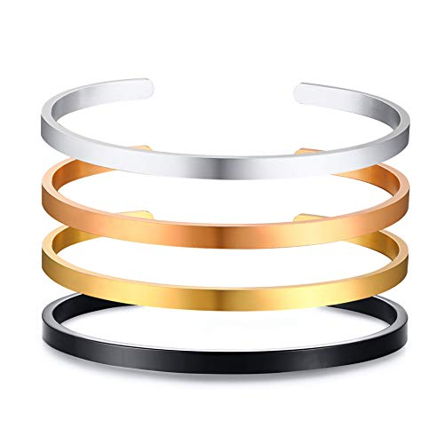 - Mealguet Jewelry Inspirational Bracelets,4 Pcs Stainless Steel Skinny Plain Name Message Quote Stacking Cuff Bangle Bracelets