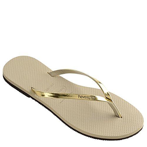 Havaianas Women's You Metallic Sandal, Sand Grey/Light Gold,37/38 BR (7-8 M US)