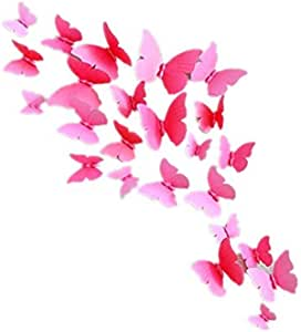 12PCS rosy Butterfly Wall Decals - 3D Butterflies Wall Stickers Removable Mural Decor Wall Stickers Decals Wall Decor Home Decor Kids Room Bedroom Decor Living Room Decor
