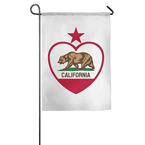 HUVATT California Heart Garden Flag Indoor & Outdoor Decorative Flags for Parade Sports Game Family Party Wall Banner 28 x 40 inch -