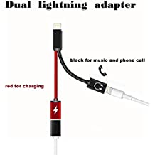 Dual Lightning Adapter,Seekermaker 2 in1 Dual Lightning Cable For iphone 7 7plus.Support Charging and Listen to Music, Calls and Drive by Wire for ios 11 Adapter(Black)