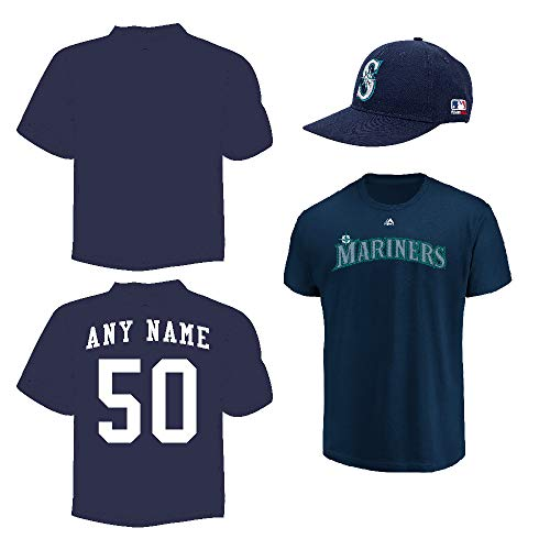 (Blank Back Adult 3X Mariners Jersey & Cap)