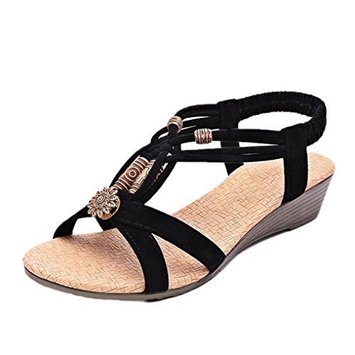 Sandalias para Mujer, RETUROM Las sandalias planas ocasionales de la hebilla del Peep-dedo del pie de las mujeres suaves del nuevo estilo Negro
