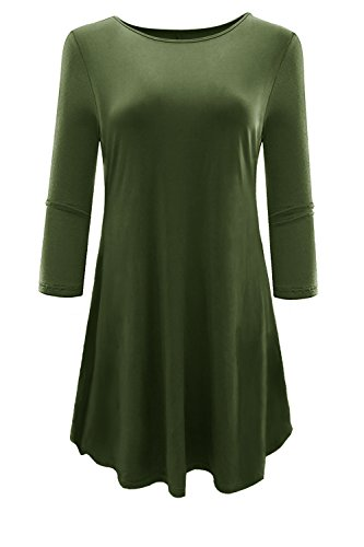 Aonal Womens 3 4 Sleeve Tunic Tops Loose Basic Shirt