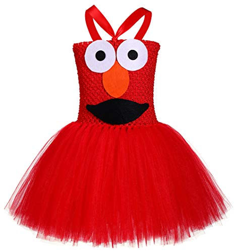 Tutu Dreams Girls Red Monster Dress Costume Carnival Masquerade Party (Cookie Monster, X-Large(7-8 Years)) -