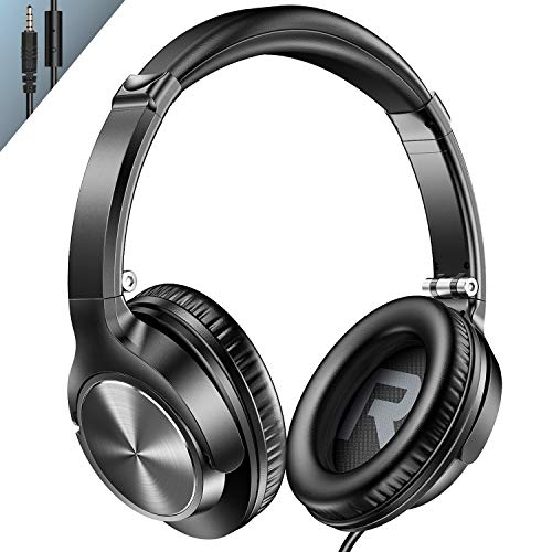 VOGEK Over Ear Headphones with Mic, Stereo Bass Wired Earphones, Portable Lightweight Foldable Headsets with 1.5M Tangle…