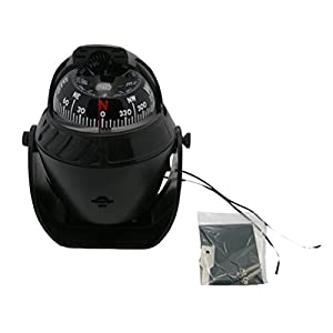 Odowalker Electronic LED Light Marine Digital Compass Suitable for Car Boat and Truck Black White