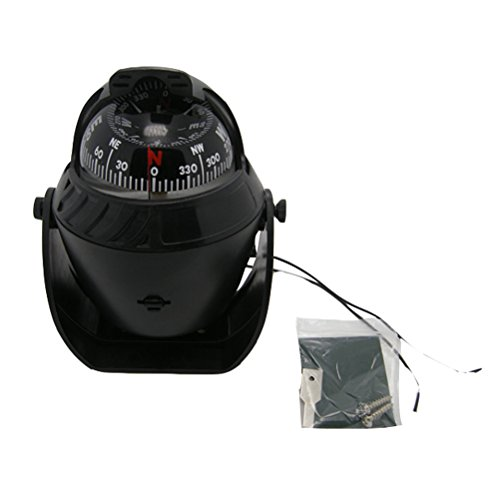 12. Odowalker Electronic LED Light Marine Digital Compass Suitable for Car Boat and Truck Black White