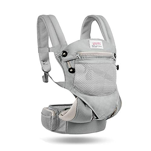 WYNZYYEBD Baby Carrier, Front Hug Newborn Sling Back Multi-Function Summer Breathable Baby Hold Summer Baby Support Strap Multi-Color Optional (Color : Gray)