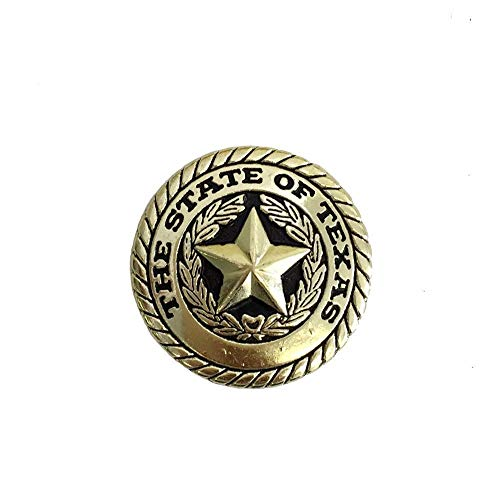 State of Texas Seal Round Concho Western Decoration Chicago Screw Brass 1.25