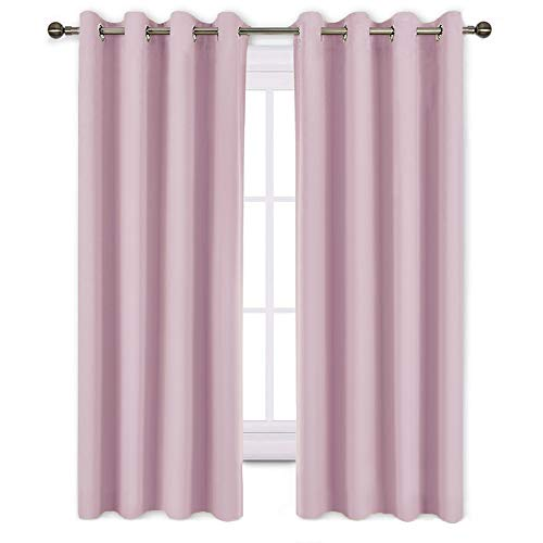 (NICETOWN Blackout Curtains for Girls Room - Thermal Insulated Solid Grommet Room Darkening Panels/Drapes for Girls' Bedroom (Lavender Pink=Baby Pink, One Pair, 52 by 63-Inch) )