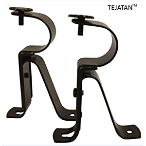 Curtain Rod Brackets - Black (Set of 2) -Adjustable (Also known as - Curtain rod Holder / Bracket for Drapery rod / Window Drapery rod bracket set for Draperies / adjustable curtain rod brackets)