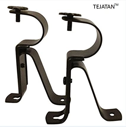 Good Curtain Rod Brackets   Black (Set Of 2)  Adjustable (Also Known As