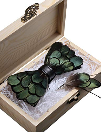 RBOCOTT Green Feather Pre-tied Bow tie Leather Bowtie and Brooch Sets for Men(6) ()