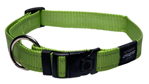 Rogz Utility Extra Large 1-Inch Reflective Lumberjack Dog Collar, Lime, My Pet Supplies