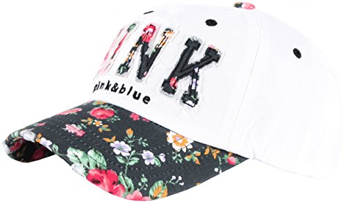 White Hat Ball (Raon B82 Sexy Women Girl Flower PINK Cute Lady Design Ball Cap Baseball Hat Truckers (White-Black))