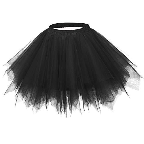 MsJune Women's 1950s Vintage Petticoats Crinolines Bubble Tutu Dance Half Slip Skirt Black-S/M -