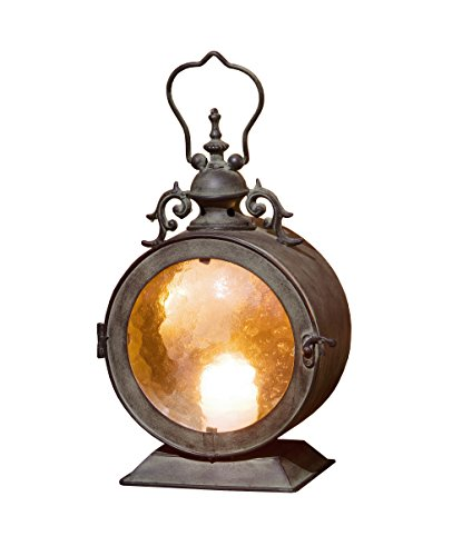 PierSurplus CL220987 Metal Round Hanging Candle Lantern with Curved Glass - Antique Hanging