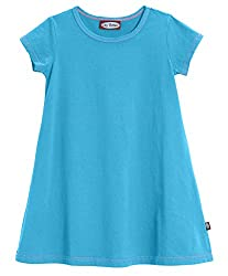 City Threads Big Girls' Cotton Short Sleeve Cover Up Dress for Sensitive Skin SPD Sensory Friendly, Turquoise, 7