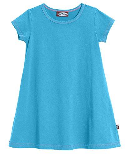 City Threads Little Girls' Cotton Short Sleeve Cover Up Dress for Sensitive Skin SPD Sensory Friendly, Turquoise, 6