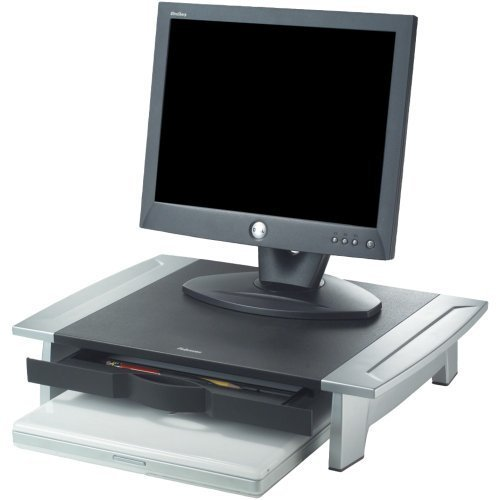 Price comparison product image Fellowes 8031101 Office Suites Monitor Riser - Up to 21 inch Screen Support - 80 lb Load Capacity - 4.2 inch Height x 19.9 inch Width x 14.1 inch Depth - Desktop - Silver, Black