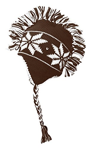 Peach Couture Winter Trooper Trapper Snowflake Mohawk Double layered Unisex Ski hat (D Brown)