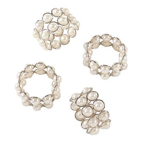 SARO LIFESTYLE Faux Pearl Beaded Design Napkin Ring - Set of 4, 2.5