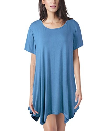 Womens Swing Tunic Tops Loose Fit Comfy Flattering T Shirt SWISSWELL Blue 3X-Large (Nice Swing Sets)
