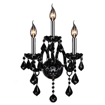 "Worldwide Lighting W23103C13-BL Provence Collection 3 Light Chrome Finish & Black Crystal Candle Wall Sconce 13"" W x 18"" H Medium Two 2 Tier Transitional Provence Collection 3 Light Two 2 Tier Black Crystal Candle Wall Sconce, 13"" W x 18"" H Medium"
