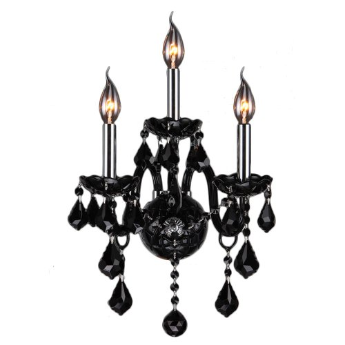 Worldwide Lighting Provence Collection 3 Light Chrome Finish and Black Crystal Candle Wall Sconce 13