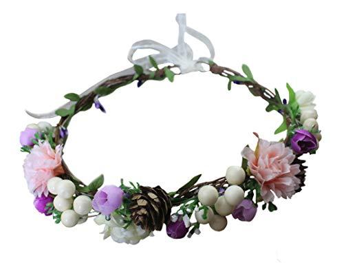 - Vivivalue Floral Garland Crown Boho Flower Headband Hair Wreath Floral Headpiece Halo with Ribbon Wedding Party Festival Photos Purple