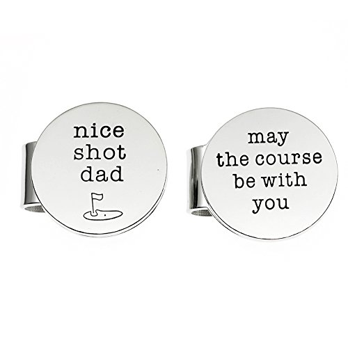 Dad Golf Ball Marker - Ms. Clover Father's Day Golf Gift, Nice Shot Dad May The Course Be With You Magnetic Golf Ball Markers Set of 2 With Case,Gift for Dad.
