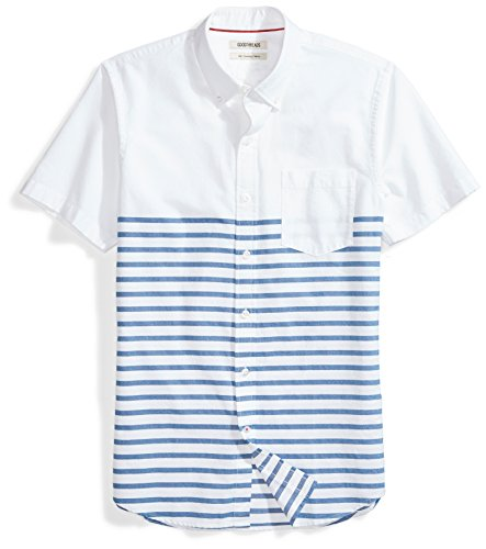 Goodthreads Men's Slim-Fit Short-Sleeve Placed-Stripe Pocket Oxford Shirt, White/Blue Stripes, Large