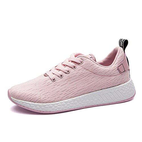 Bomkin Hommes Et Femmes Casual Chaussures De Sport Respirant Chaussures De Sport Athlétiques Rose