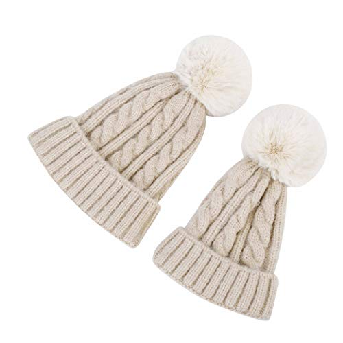 (MXKJ-STORE Kids Winter Knitted Hat with Faux Fur Pom Pom Cap for Toddler Boys Girls 1-4 Age Warm Kids Beanie Hat)