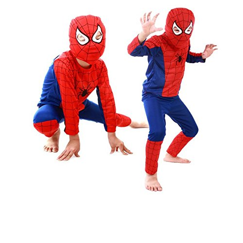 Kids Spiderman Costume Child Superhero Cosplay Elastic Jumpsuit Amazing Spandex Zentai Suit Halloween Boys Costumes (S) - Spider Man Full Body Suit